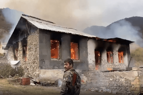 Armenians setting fire to their homes before leaving them [Youtube]