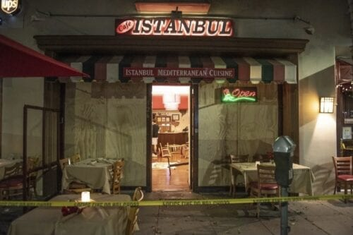 Turkish restaurant 'Istanbul cafe' was attacked by an Armenian group in Los Angeles, California [serdarkilic9/Twitter]