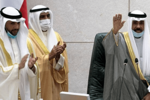 Kuwait's new Emir Nawaf al-Ahmad al-Sabah gestures as speaker of parliament Marzouq al-Ghanim claps during a parliament session, in Kuwait City, Kuwait October 20, 2020 [Getty/Stephanie McGehe]